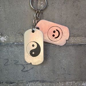 Yin Yang & Smiley Face 90s Dog Tag Keychain
